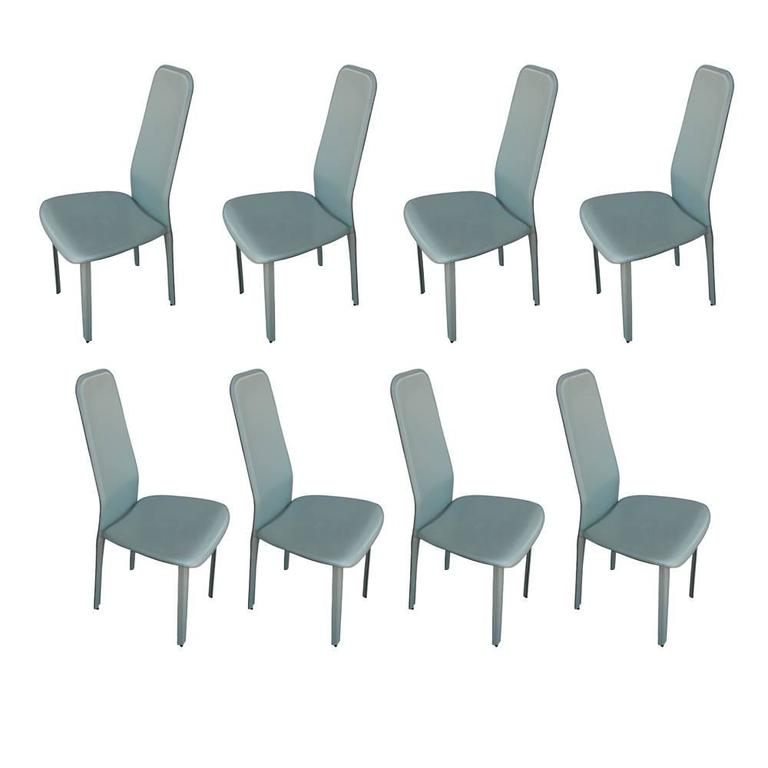 Set Of Eight Italian Leather Dining Chairs For Sale At 1stdibs