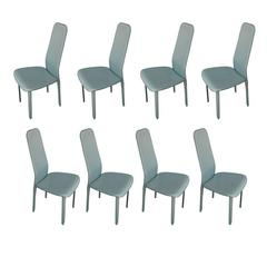 Set of Eight Italian Leather Dining Chairs