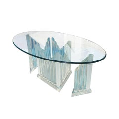 Vintage Oval Glass and Lucite Table