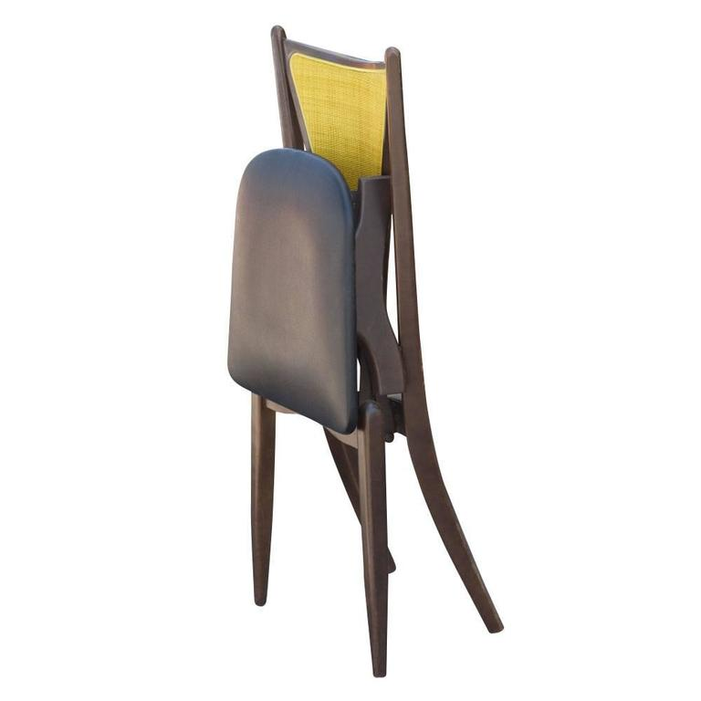 Mid-20th Century Set of Six Stakmore Mid-Century Modern Cane Back Folding Chairs For Sale
