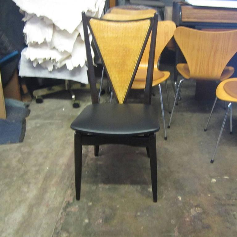 A Set Of Six Stakmore Mid Century Modern Cane Back Folding Chairs. These  Chairs