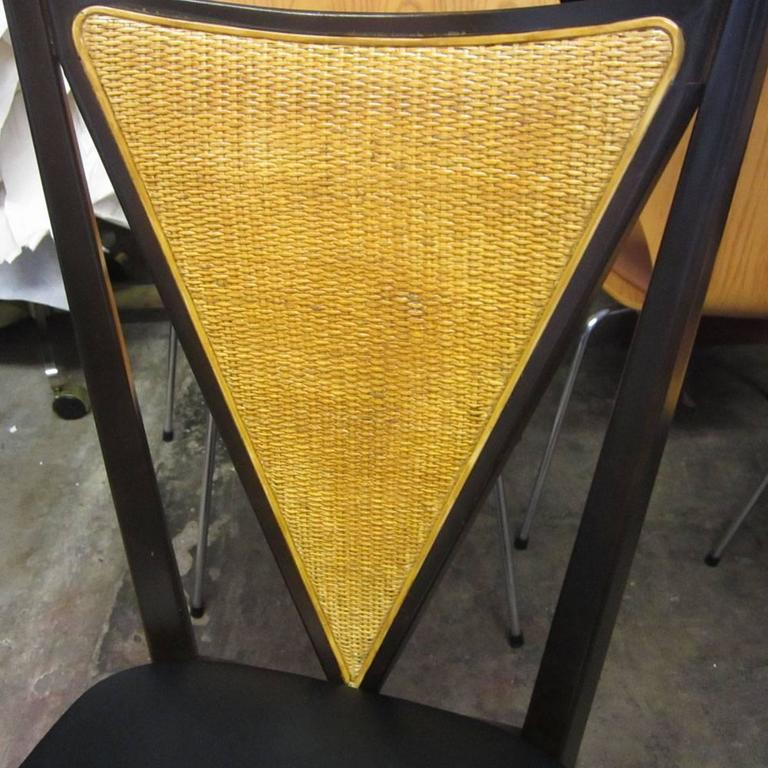 Set of Six Stakmore Mid-Century Modern Cane Back Folding Chairs In Good Condition For Sale In Pasadena, TX