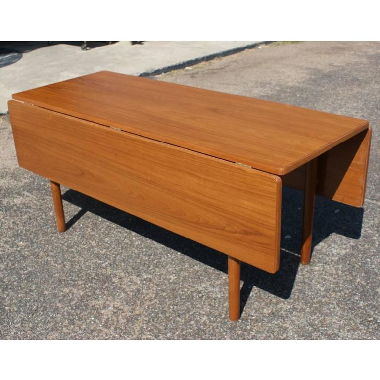 Danish Mid Century Modern Drop Leaf Dining Table For Sale