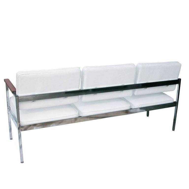 American Vintage Mid-Century Steel Case Three-Seat Sofa For Sale