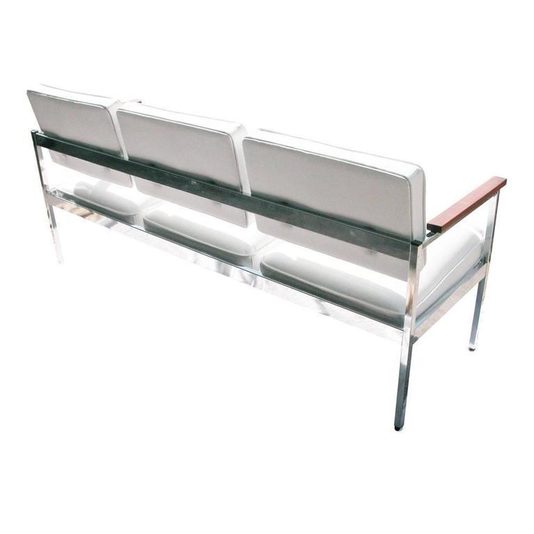 Mid-Century Modern Vintage Mid-Century Steel Case Three-Seat Sofa For Sale