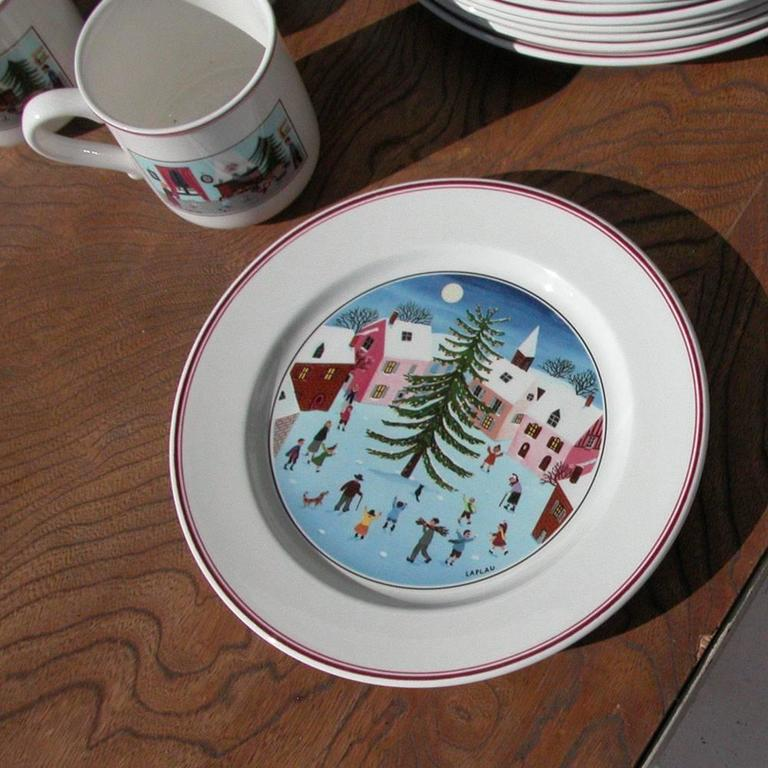 Vintage Naif Christmas Plates By Villeroy And Boch At 1stdibs