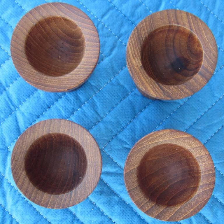 Vintage Teak Lonborg Set Toothpick Holders And Egg Cups