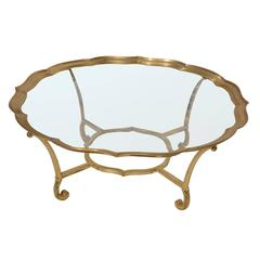 Vintage Hollywood Regency La Barge Solid Brass Glass Coffee Table
