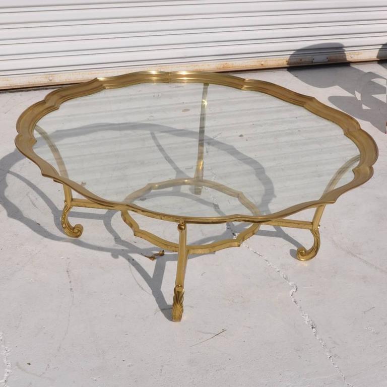Vintage Hollywood Regency La Barge Solid Brass Glass