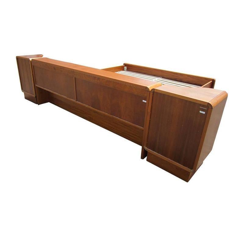 Vintage mid century danish teak platform bed with for Vintage danish modern bedroom furniture