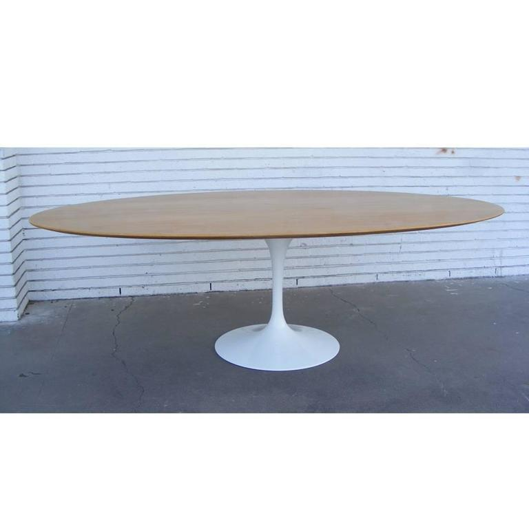 8FT Saarinen Knoll oak top tulip base   Rare 8 ft top paired with iconic tulip base.   Oak, refinished.