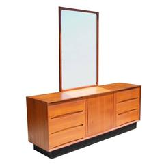 Vintage Drylund Mid-Century Teak Dresser with Mirror by Aksel Kjersgaard