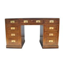 Mid-Century Modern Campaign Desk with Brass Pulls by Henredon