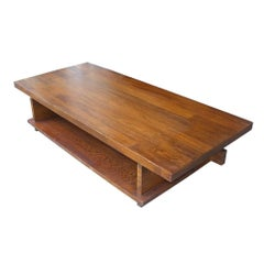 Lane Mid-Century Plank Walnut Trestle Coffee Table