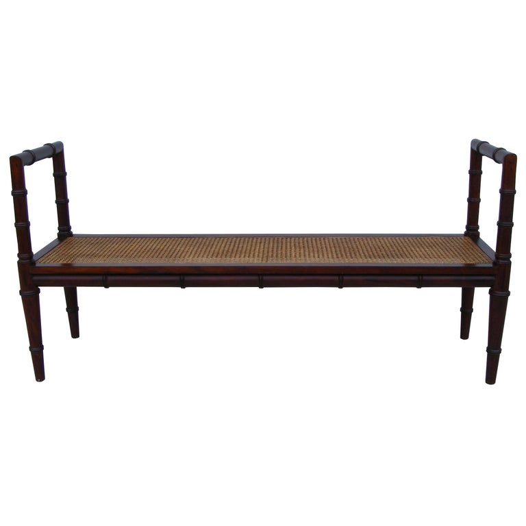 Vintage Midcentury Chin Hua Cane Rosewood Bench (MR15253) 2