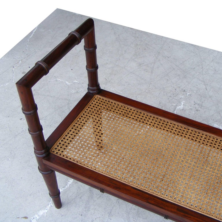 Vintage Midcentury Chin Hua Cane Rosewood Bench (MR15253) 4