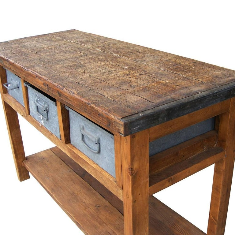 vintage european industrial rustic console at 1stdibs