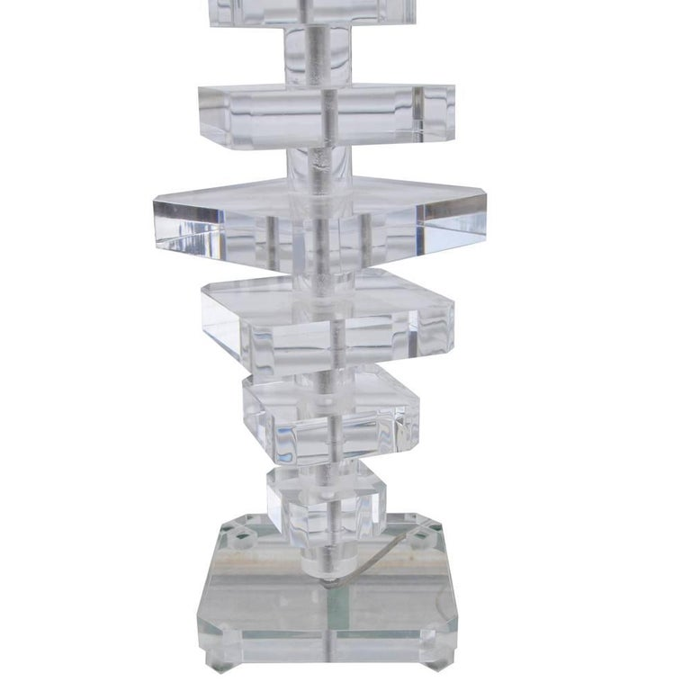Karl Springer Style Modern Stacked Lucite Table Lamp 'MR15256' 2