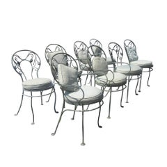 Set of Eight Vintage Wrought Iron Outdoor Chairs by Salterini