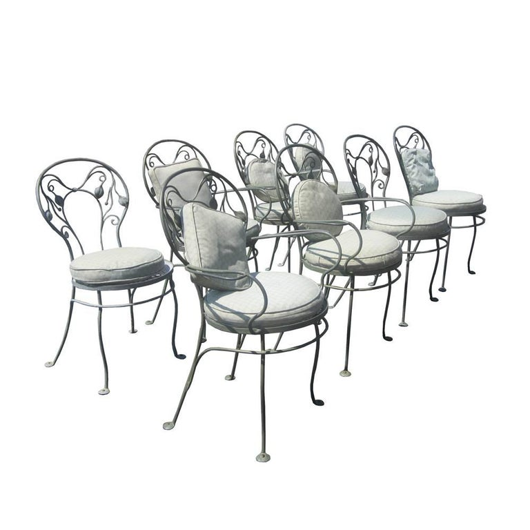 Set of Eight Vintage Wrought Iron Outdoor Chairs by Salterini For Sale