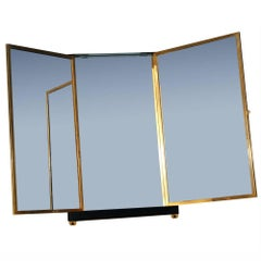 Rare French Brevete LB Wood Brass Trifold Wall Vanity Mirror