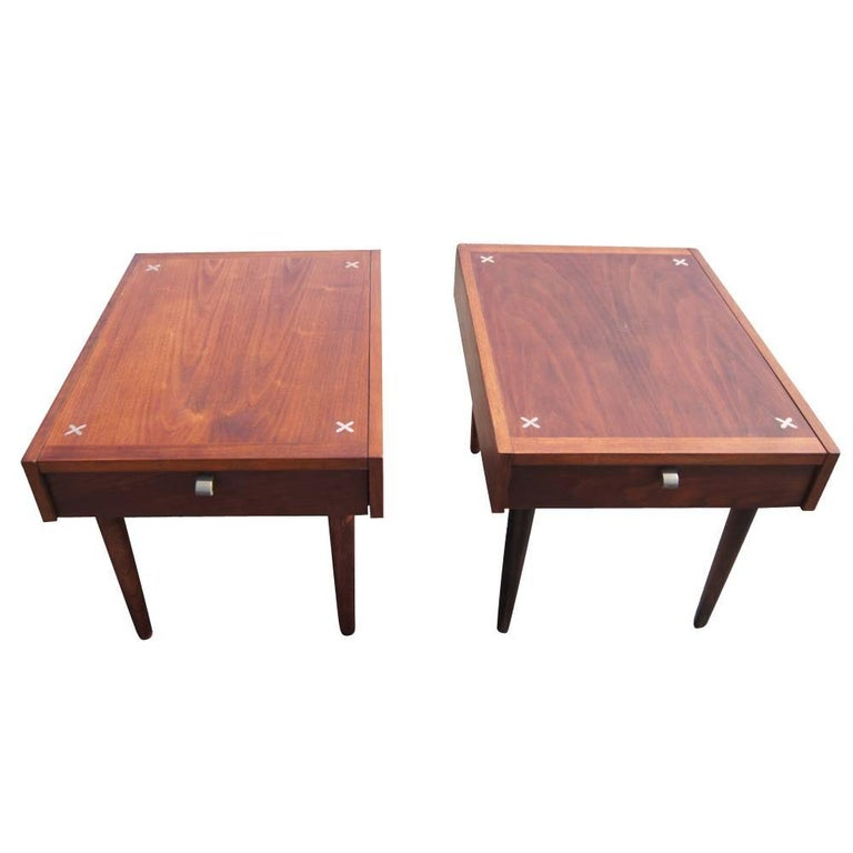 Pair of Vintage American of Martinsville Nightstands with Aluminum Inlays 2