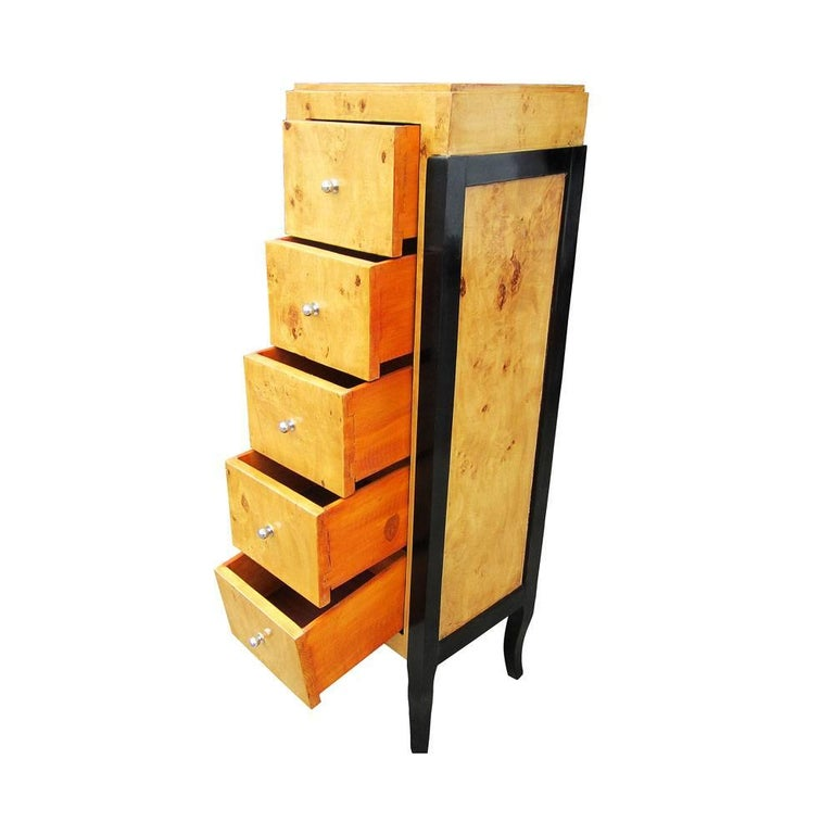 20th Century Burled Wood Art Deco Style Chest For Sale