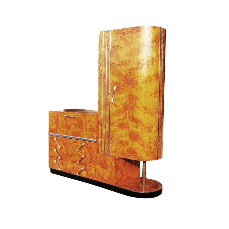 Vintage Italian Art Deco wardrobe by C-Bertero. This is a stunning Art Deco wardrobe, sophisticated in design and constructed of burl wood. A beautiful design for a modern home or living space. Closet, three-drawer and pull down vanity. Also