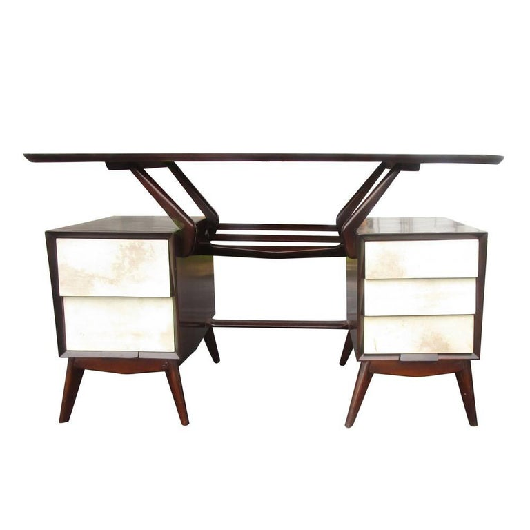 Mid-Century Modern Vintage Ebonized Italian Goatskin Parchment Desk For Sale