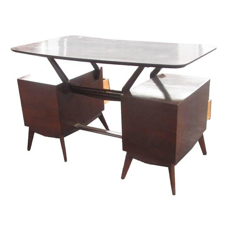 South American Vintage Ebonized Italian Goatskin Parchment Desk For Sale