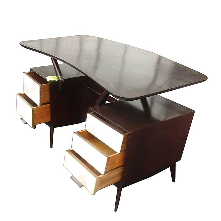 Vintage Ebonized Italian Goatskin Parchment Desk In Good Condition For Sale In Pasadena, TX