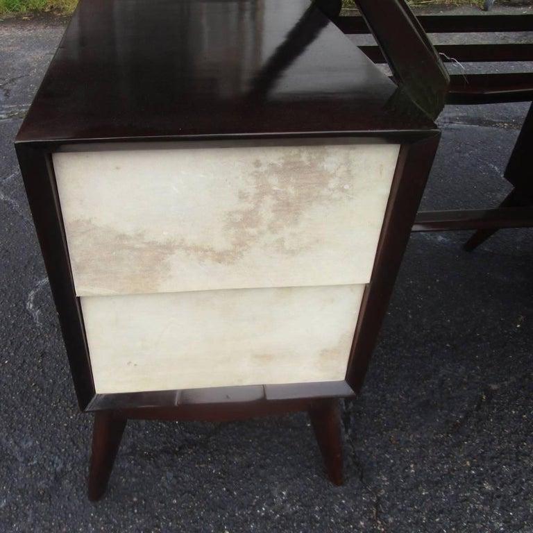 Mid-20th Century Vintage Ebonized Italian Goatskin Parchment Desk For Sale