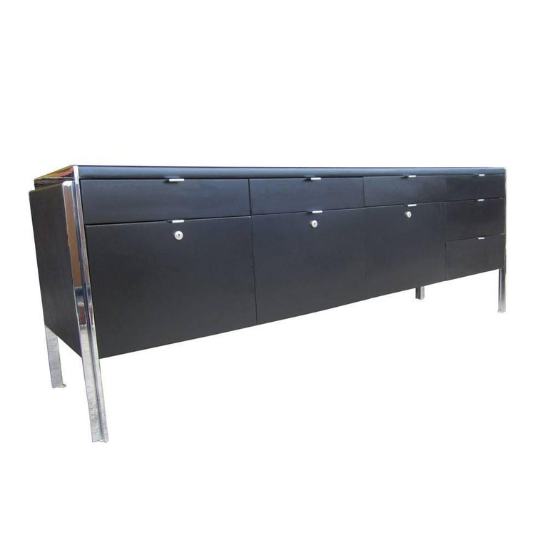Vintage Stow Davis Credenza with Leather Top
