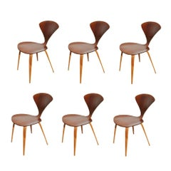 Set of Six Vintage Midcentury Plycraft Cherner Walnut Side Chairs