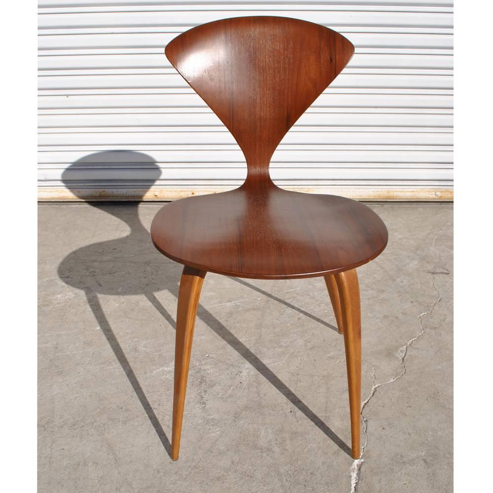 set of six vintage midcentury plycraft cherner walnut side chairs 3
