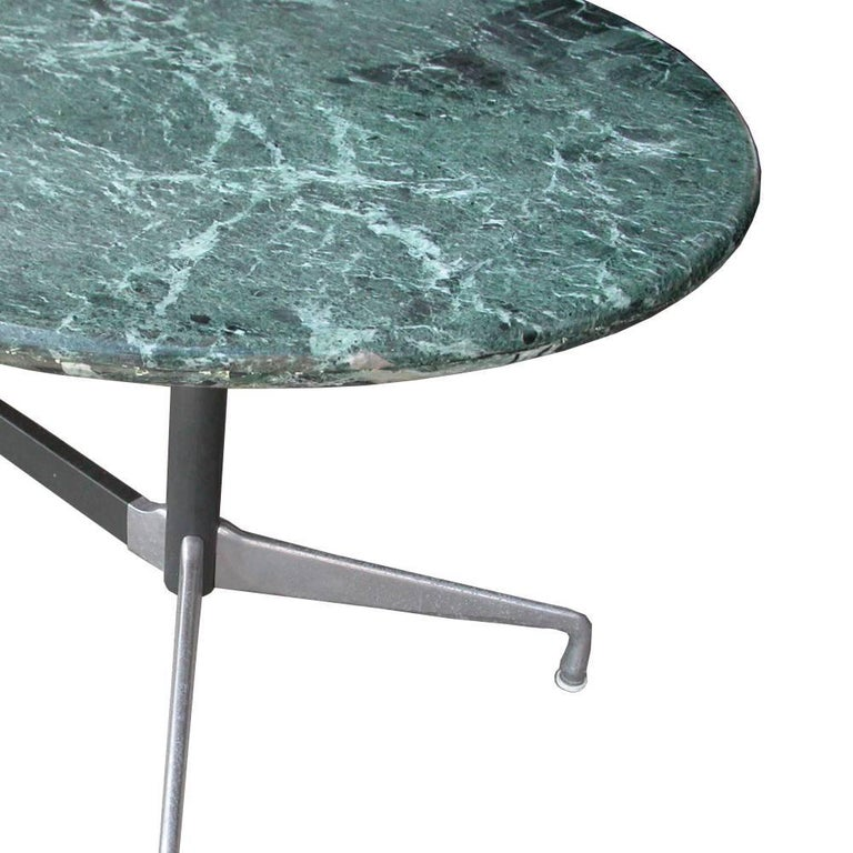 7 ft Italian Verde green marble-top with a Herman Miller Eames Base   Classic and elegant segmented H base with 1.5