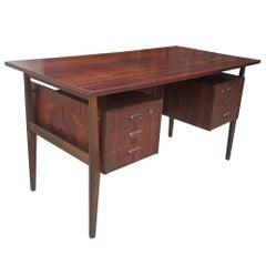 Vintage Danish Rosewood Two-Pedestal Desk