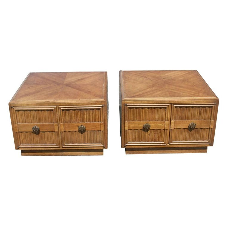 Pair of Plaudit by Drexel Two-Toned Wood Nightstands Side Tables