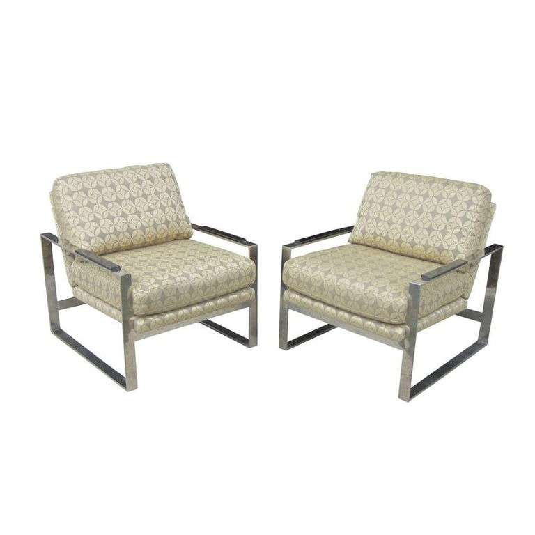 Pair of Vintage Milo Baughman Style Lounge Chairs