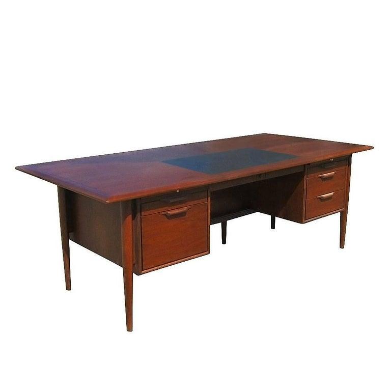Vintage Midcentury Two-Pedestal Rosewood Desk