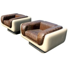 Pair of Vintage Midcentury Andrus Steelcase Soft Seating Lounge Chairs