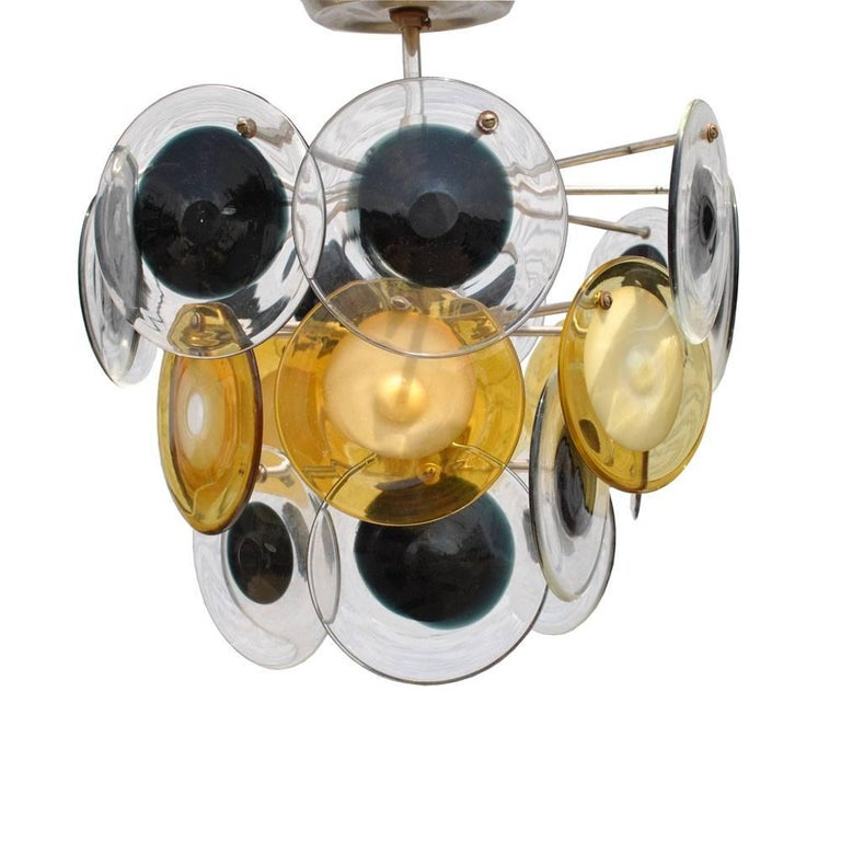 Mid-Century Modern Italian Murano Vistosi Glass Disc Chandelier In Good Condition For Sale In Pasadena, TX