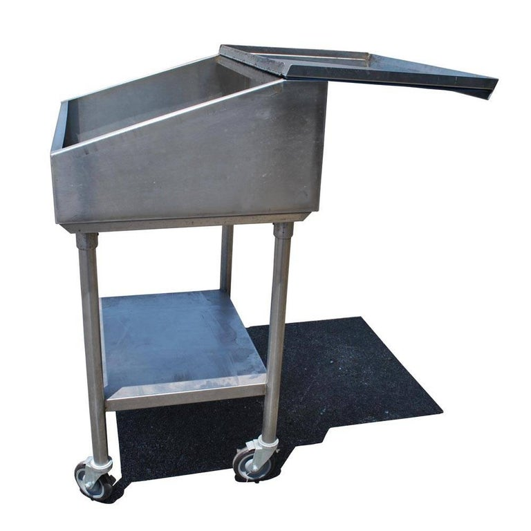 Mid-Century Modern Industrial Factory Stainless Steel Standing Desk For Sale