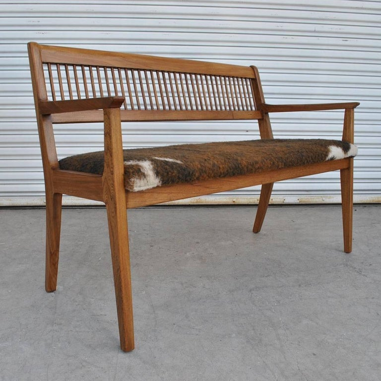 Walnut Vintage Midcentury Drexel John Van Koert Profile Series Bench For Sale