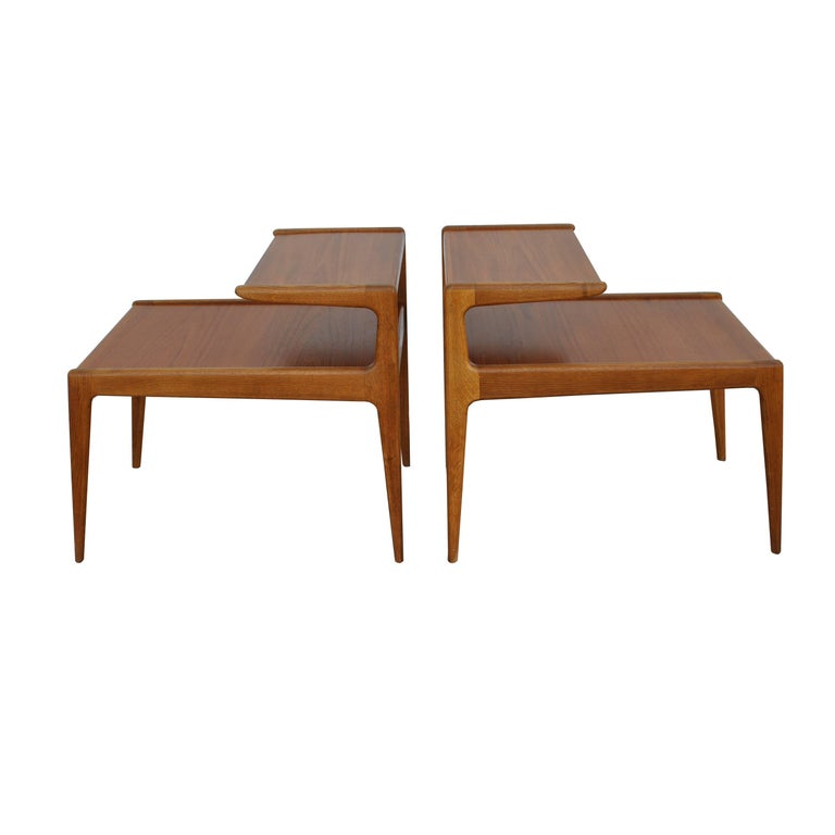 Vintage Pair of Kurt Ostervig Two-Tiered End Tables For Sale
