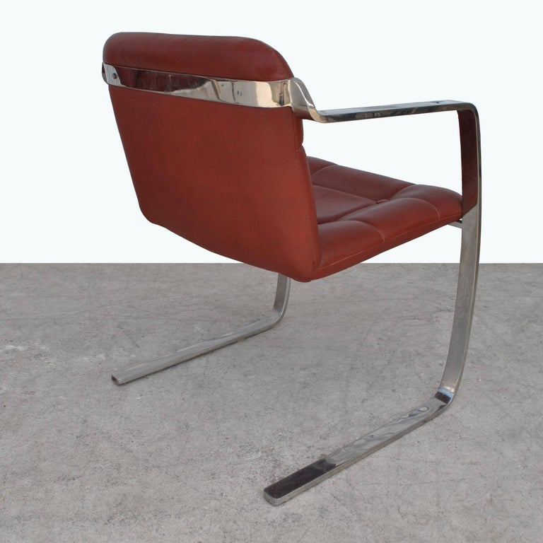 Mid-Century Modern Two Midcentury Cumberland Stainless Steel and Leather Armchairs For Sale