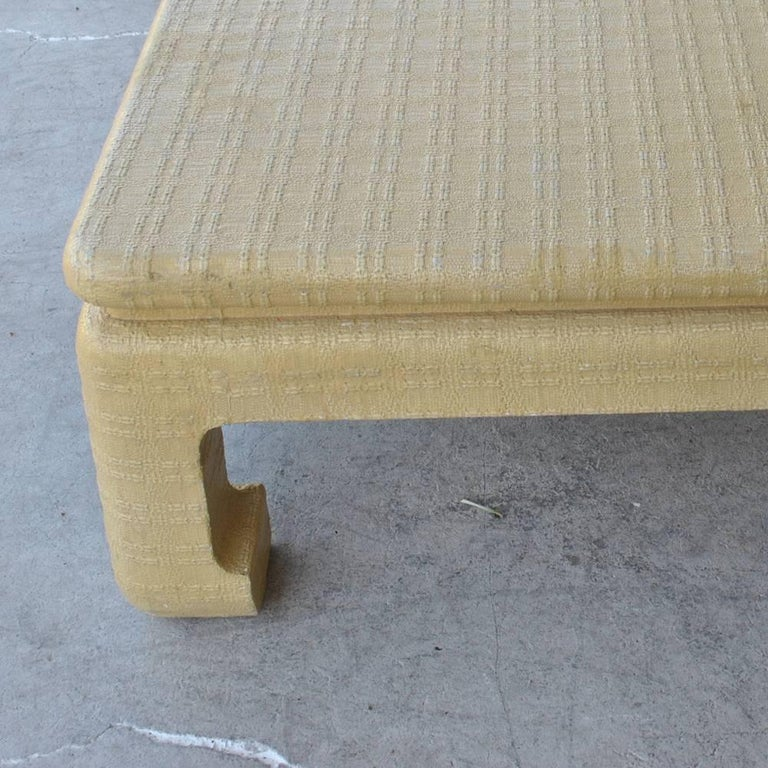 20th Century Midcentury Karl Springer Ming Style Lacquered Grass Cloth Coffee Table For Sale