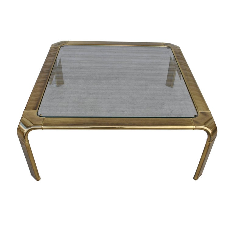 Mid-Century Modern Vintage Midcentury Waterfall Brass Coffee Table by Widdicomb For Sale