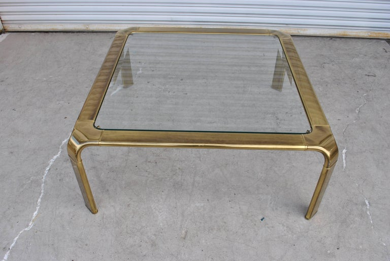 American Vintage Midcentury Waterfall Brass Coffee Table by Widdicomb For Sale
