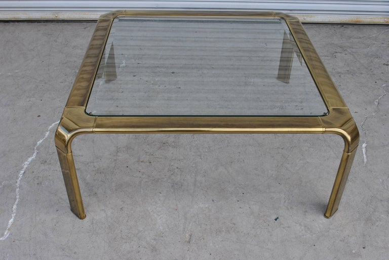 Vintage Midcentury Waterfall Brass Coffee Table by Widdicomb For Sale 2